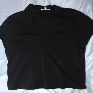 Charlotte Russe black crop top with cutout